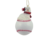 Shih Tzu White Baseball Ornament