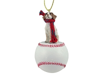 Brittany Brown & White Spaniel Baseball Ornament
