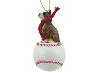 Boxer Brindle Baseball Ornament