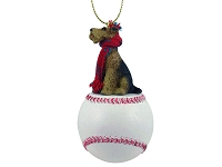 Airedale Baseball Ornament
