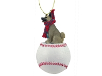 Akita Gray Baseball Ornament