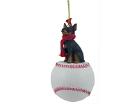 Miniature Pinscher Tan & Black Baseball Ornament