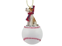 Wire Fox Terrier Red Baseball Ornament