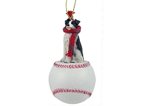Border Collie Baseball Ornament