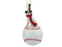 Jack Russell Terrier Brown & White w/Rough Coat Baseball Ornament