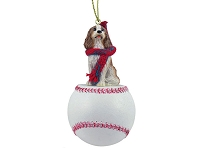 Cavalier King Charles Spaniel Brown & White Baseball Ornament