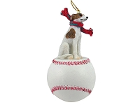 Whippet Brindle & White Baseball Ornament