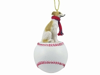 Whippet Tan & White Baseball Ornament
