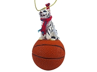 Tiger White Basketball Ornament