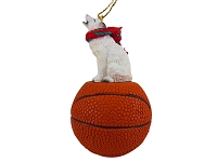 Wolf White Basketball Ornament