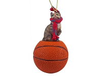 Brown Shorthaired Tabby Cat Basketball Ornament