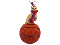 Red Shorthaired Tabby Cat Basketball Ornament