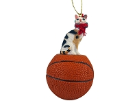 Tortoise & White Cornish Rex Basketball Ornament