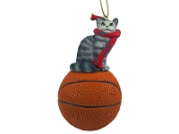 Silver Tabby Maine Coon Cat Basketball Ornament