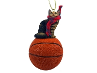 Brown Maine Coon Cat Basketball Ornament