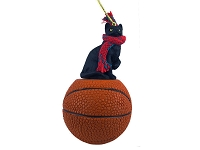 Black Shorthaired Tabby Cat Basketball Ornament