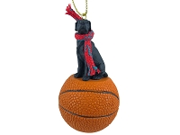 Great Dane Black w/Uncropped Ears Basketball Ornament