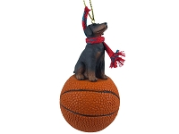 Doberman Pinscher Red w/Uncropped Ears Basketball Ornament