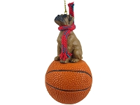 Boxer Tawny w/Uncropped Ears Basketball Ornament