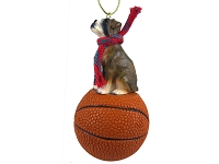 Boxer Brindle w/Uncropped Ears Basketball Ornament