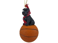 Schnauzer Black w/Uncropped Ears Basketball Ornament