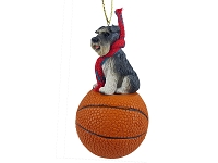 Schnauzer Gray w/Uncropped Ears Basketball Ornament