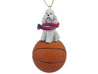 Poodle White w/Sport Cut Basketball Ornament