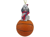 Poodle Gray w/Sport Cut Basketball Ornament