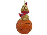 Poodle Apricot w/Sport Cut Basketball Ornament