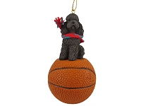 Poodle Chocolate w/Sport Cut Basketball Ornament