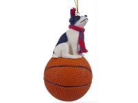 Jack Russell Terrier Black & White w/Smooth Coat Basketball Ornament