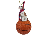 Pointer Brown & White Basketball Ornament