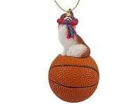 Japanese Chin Red & White Basketball Ornament
