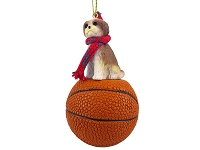 Shih Tzu Tan w/Sport Cut Basketball Ornament
