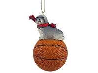 Lhasa Apso Gray w/Sport Cut Basketball Ornament