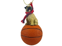 Pug Fawn Basketball Ornament