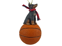 Doberman Pinscher Red w/Cropped Basketball Ornament