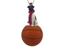 Fox Terrier Black & White Basketball Ornament