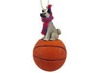 Akita Gray Basketball Ornament