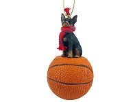 Miniature Pinscher Tan & Black Basketball Ornament