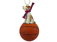 Wire Fox Terrier Red Basketball Ornament