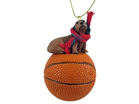 Dachshund Longhaired Red Basketball Ornament