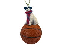 Jack Russell Terrier Black & White w/Rough Coat Basketball Ornament