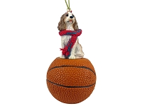 Cavalier King Charles Spaniel Brown & White Basketball Ornament