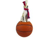 Whippet Tan & White Basketball Ornament