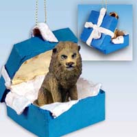 Lion Gift Box Blue Ornament