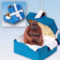 Orangutan Gift Box Blue Ornament