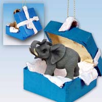 Elephant Gift Box Blue Ornament