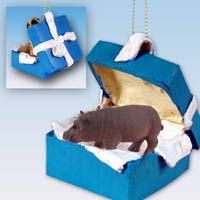 Hippopotamus Gift Box Blue Ornament