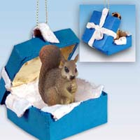 Squirrel Red Gift Box Blue Ornament
